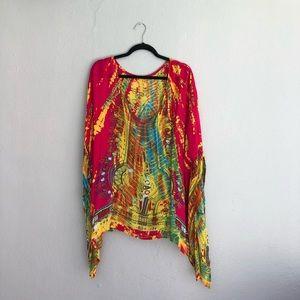 Tie dye kimono top/coverup one size